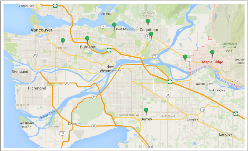 Metro Vancouver Movers - Location Map